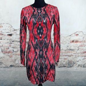 Parker M Red Black Snake Print Silk Sheath Dress